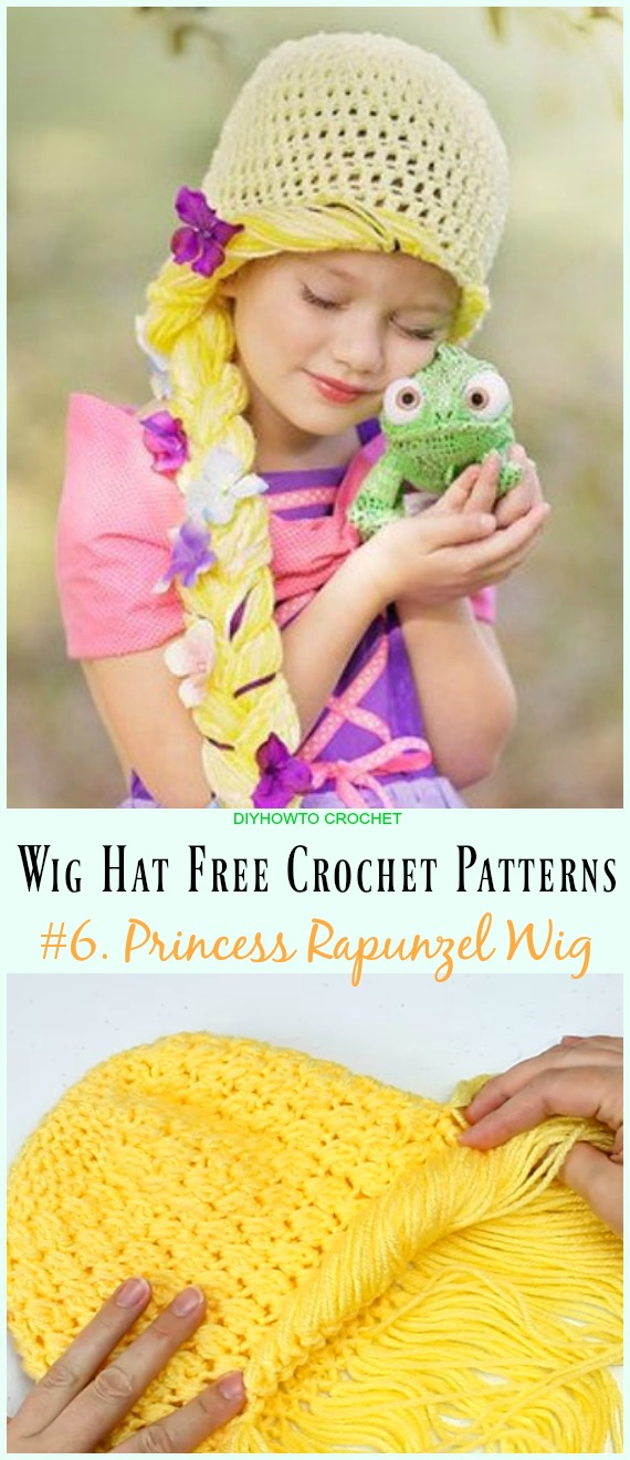 Princess Rapunzel Wig Free Crochet Pattern- #Wig; #Hat; Free #Crochet; Patterns For Halloween