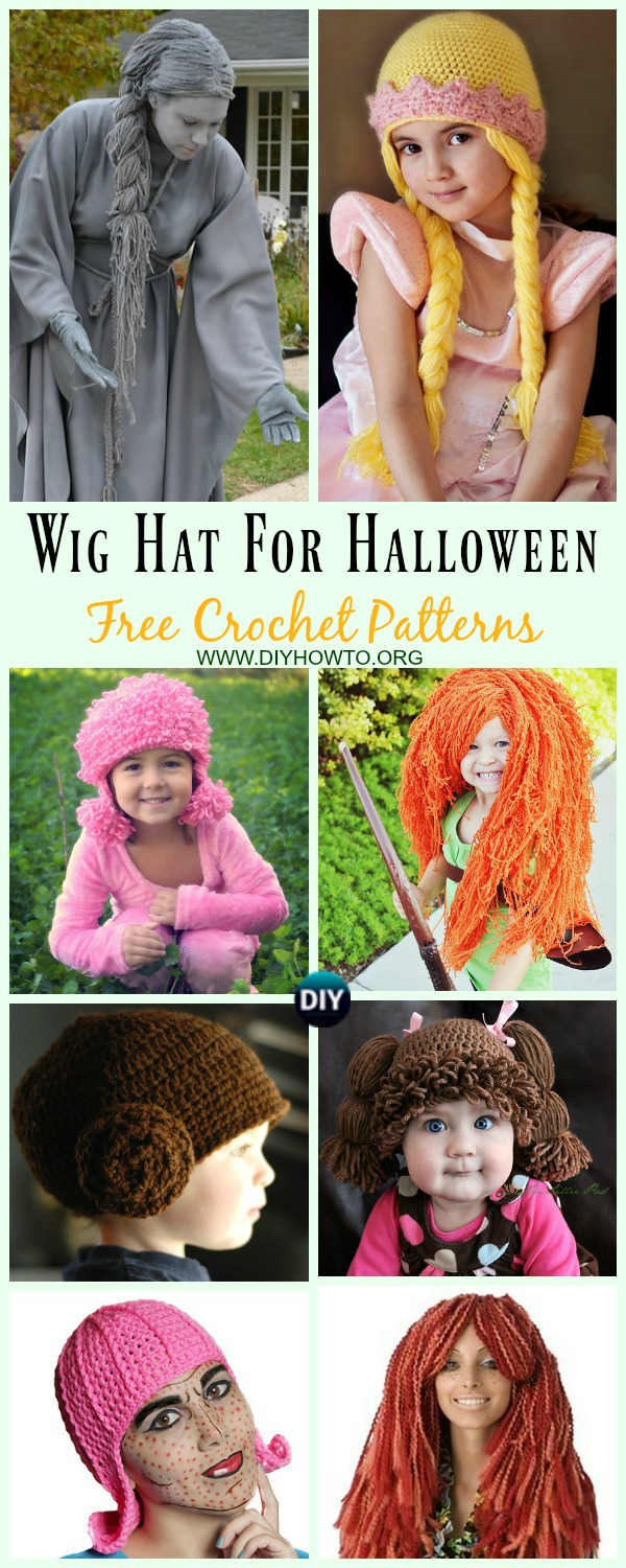 Collection of Wig Hat Free Crochet Patterns For Halloween: Crochet Princess Wig Hat, Wig Braid, Halloween Wig, Baby Cabbage Patch Hat, Doodle Hat for women, men and More