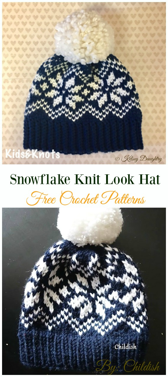 Snowflake Knit Look Hat Crochet Free Pattern - Winter #Snowflake; #Hat; Free #Crochet; Patterns