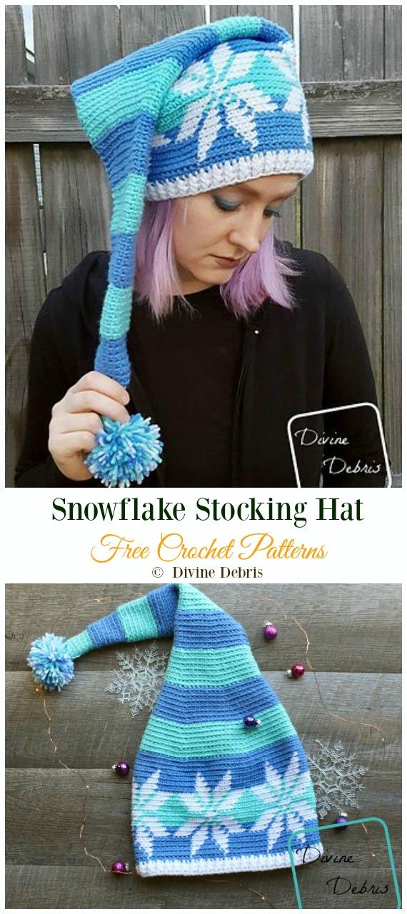 Snowflake Stocking Hat Crochet Free Pattern -Winter #Snowflake; #Hat; Free #Crochet; Patterns