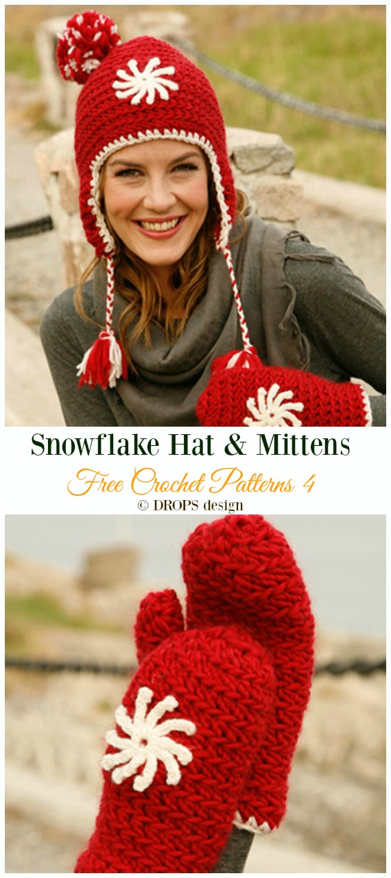 Snowflake Hat & Mittens Crochet Free Pattern - Winter #Snowflake; #Hat; Free #Crochet; Patterns