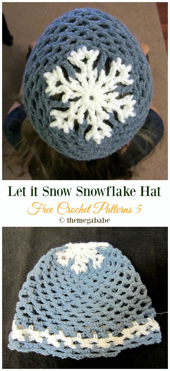 Let it Snow Snowflake Hat Crochet Free Pattern - Winter #Snowflake; #Hat; Free #Crochet; Patterns