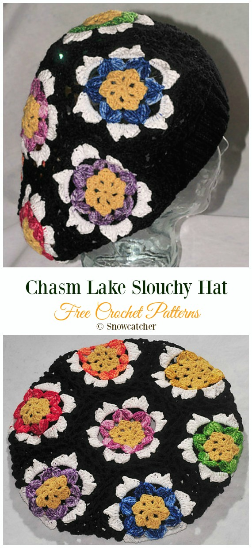 Chasm Lake Slouchy HatCrochet Free Pattern -Winter #Snowflake; #Hat; Free #Crochet; Patterns