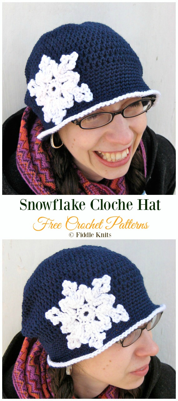 Snowflake Cloche HatCrochet Free Pattern -Winter #Snowflake; #Hat; Free #Crochet; Patterns