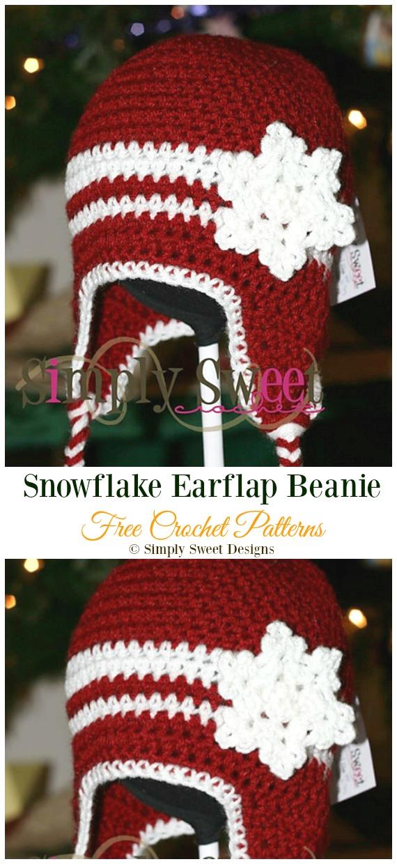 Snowflake Earflap Beanie Crochet Free Pattern -Winter #Snowflake; #Hat; Free #Crochet; Patterns