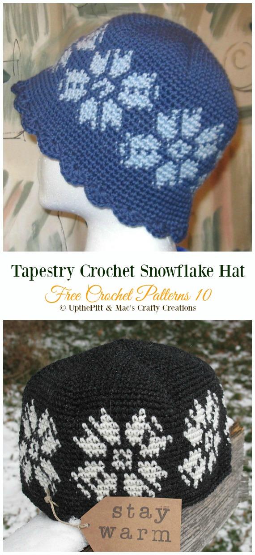 Tapestry Crochet Snowflake HatCrochet Free Pattern -Winter #Snowflake; #Hat; Free #Crochet; Patterns