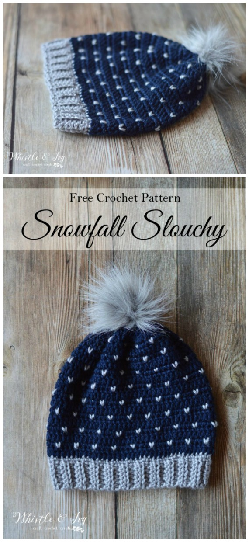 Snowfall Slouchy HatCrochet Free Pattern -Winter #Snowflake; #Hat; Free #Crochet; Patterns