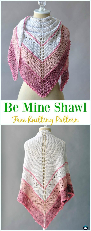 Be Mine Shawl Free Knitting Pattern - Women #Shawl; Wrap Free #Knitting; Patterns