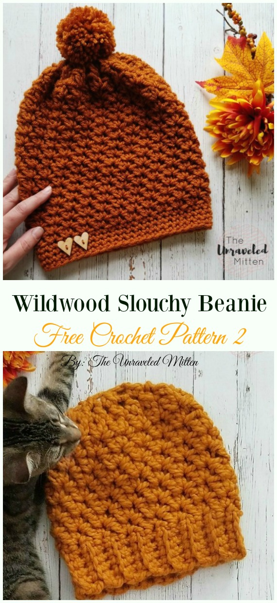 Wildwood Slouchy Beanie Hat Crochet Free Pattern - Women #Slouchy; Beanie Hat Free #Crochet ;Patterns