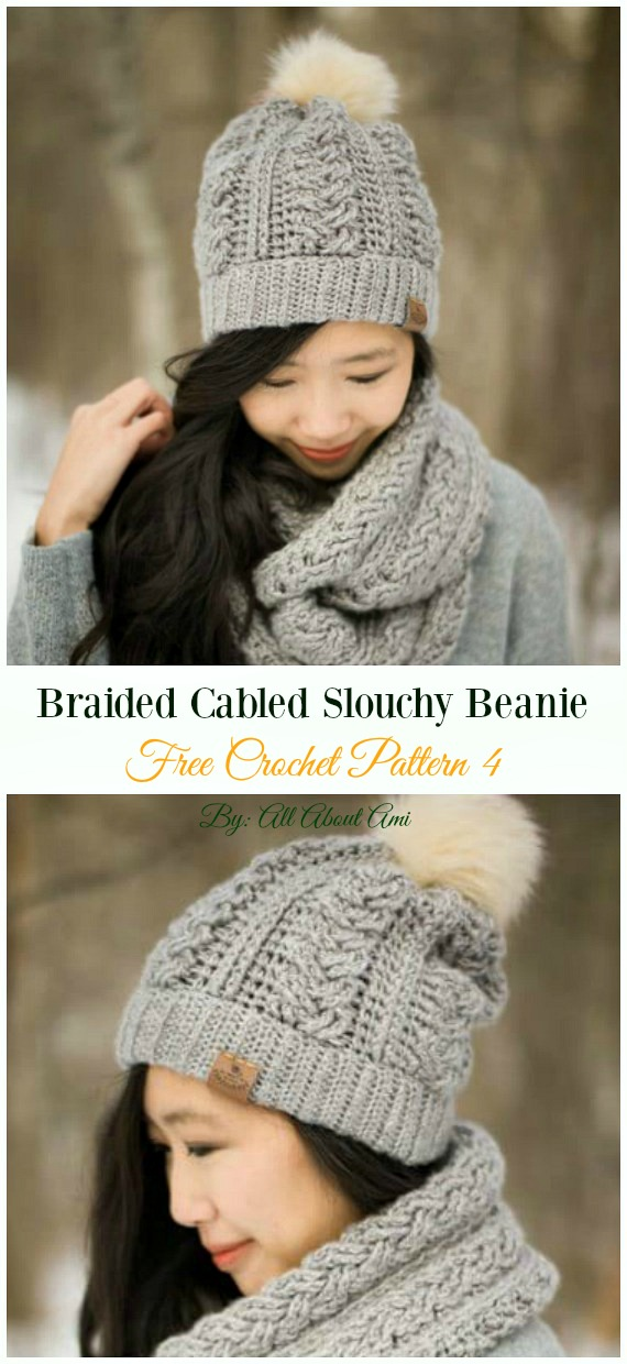 Braided Cabled Slouchy Beanie Hat Crochet Free Pattern - Women #Slouchy; Beanie Hat Free #Crochet; Patterns