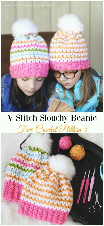V Stitch Slouchy BeanieHat Crochet Free Pattern - Women #Slouchy; Beanie Hat Free#Crochet; PatternsV Stitch Slouchy BeanieHat Crochet Free Pattern - Women #Slouchy; Beanie Hat Free#Crochet; Patterns