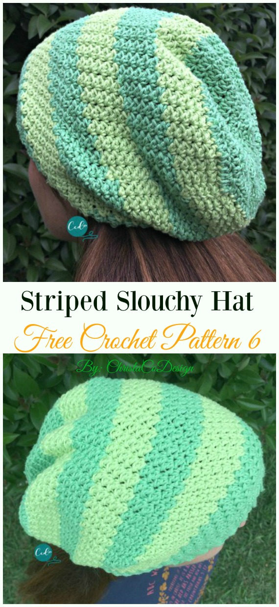 Striped Slouchy Hat Crochet Free Pattern - Women #Slouchy; Beanie Hat Free #Crochet ;Patterns