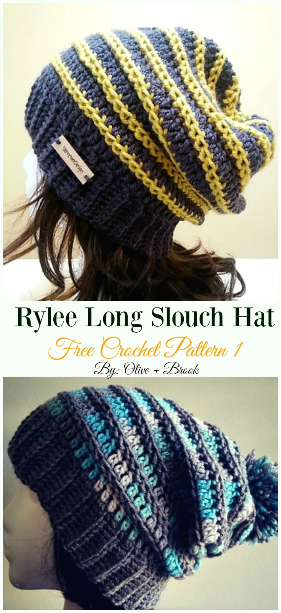 Rylee Long Slouch Hat Crochet Free Pattern - Women #Slouchy; Beanie Hat Free #Crochet ;Patterns