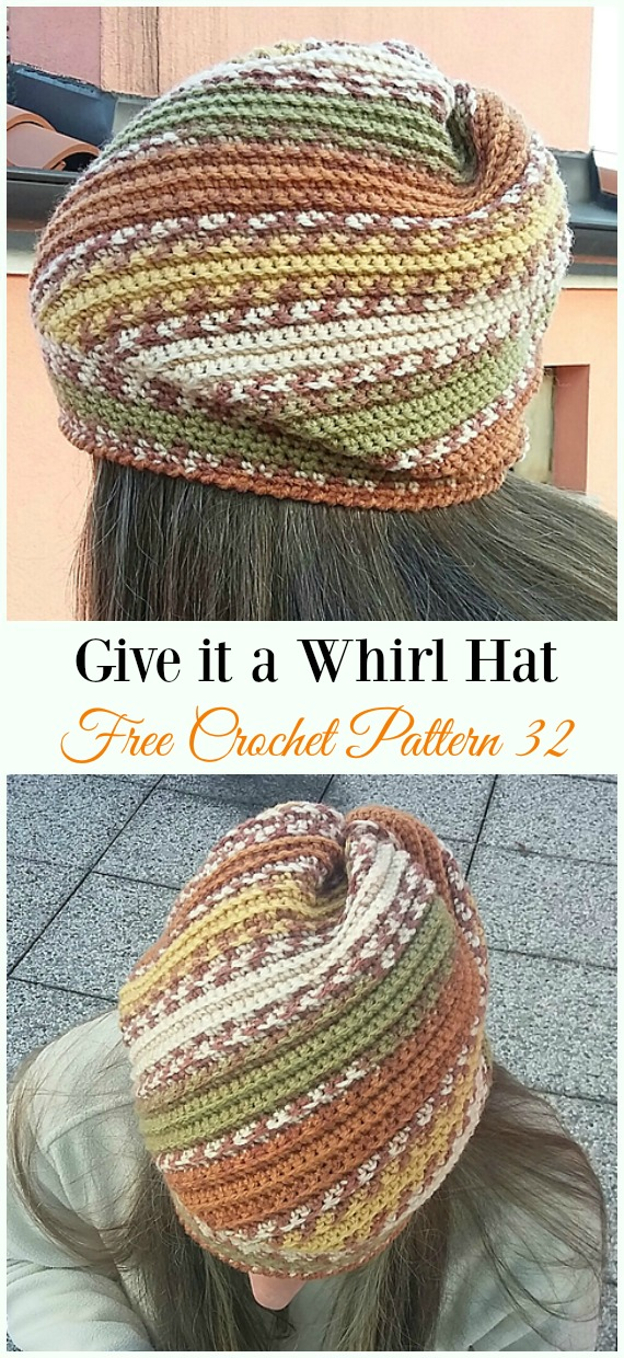 Give it a Whirl Hat Crochet Free Pattern - Women #Slouchy; Beanie Hat Free #Crochet ;Patterns