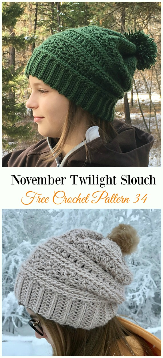 November Twilight Slouch Hat Crochet Free Pattern - Women #Slouchy; Beanie Hat Free #Crochet ;Patterns