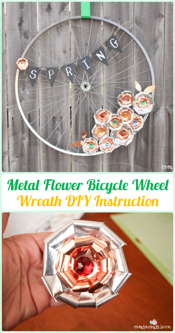 DIY Metal Flower Bicycle Wheel Wreath Instruction - DIY Ways to Recycle Bike Rims
