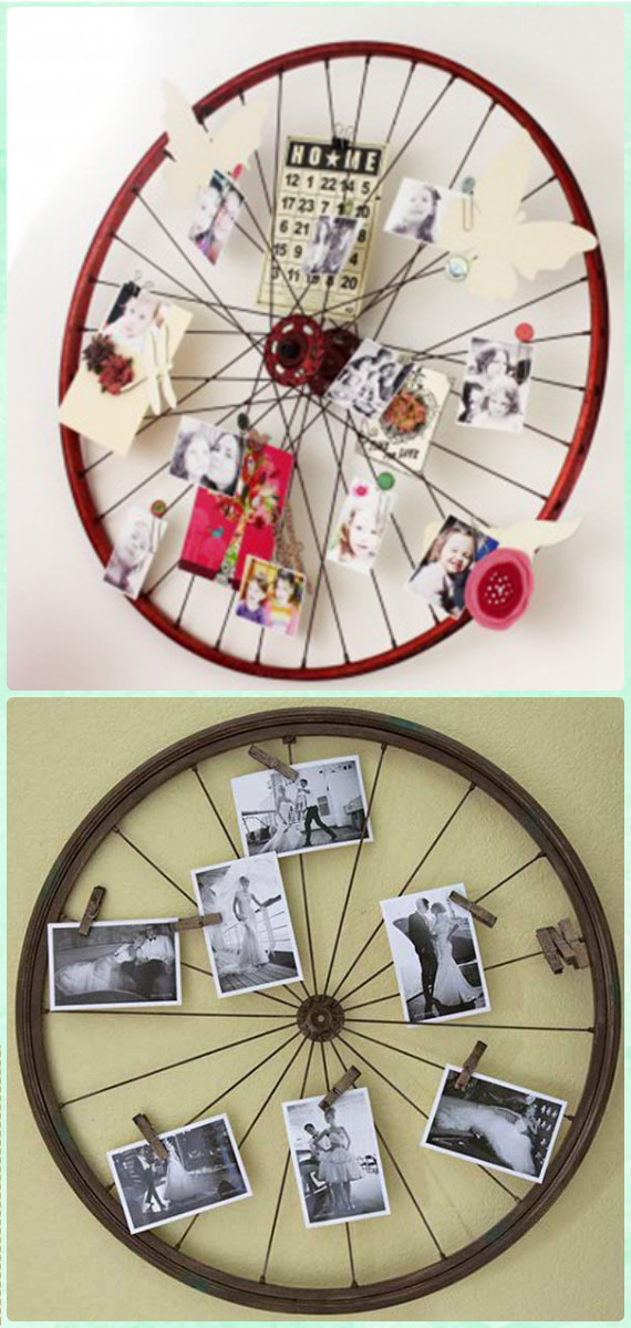 Bicycle Wheel Photo Wall Art - DIY Ways to Recycle Bike Rims