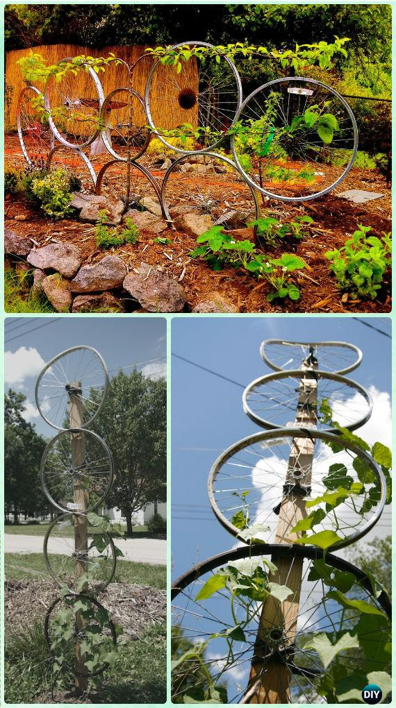 DIY Bike Wheel Trellis - DIY Ways to Recycle Bike Rims