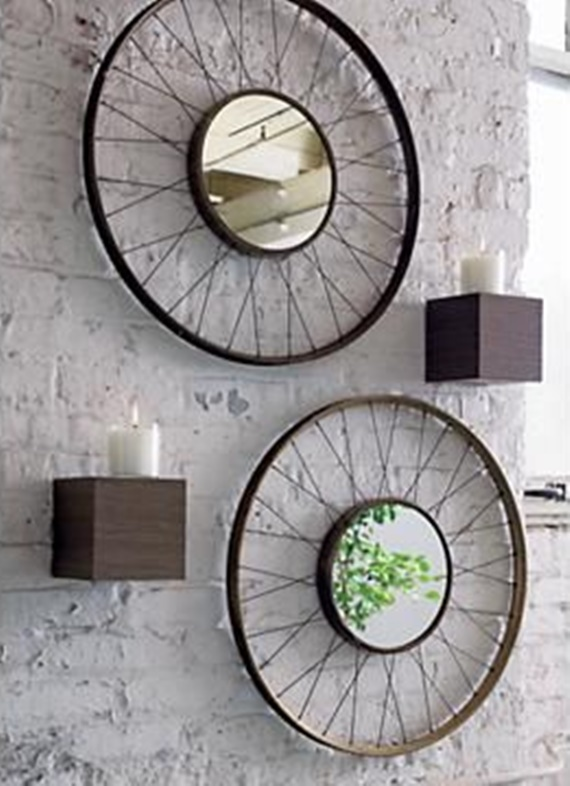 Bicycle Wheel Wall Mirror- DIY Ways to Recycle Bike Rims
