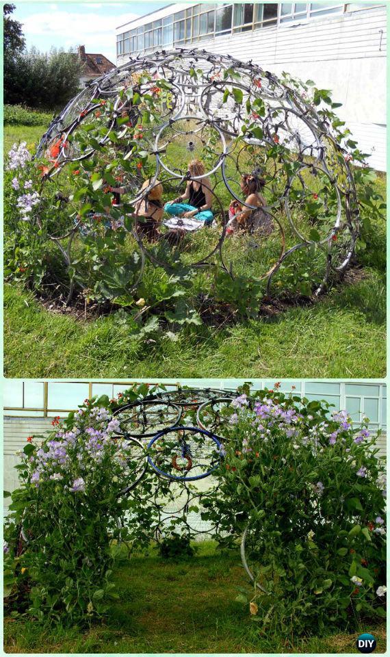 DIYBike Wheel Plant Dome Playhouse - DIY Ways to Recycle Bike Rims