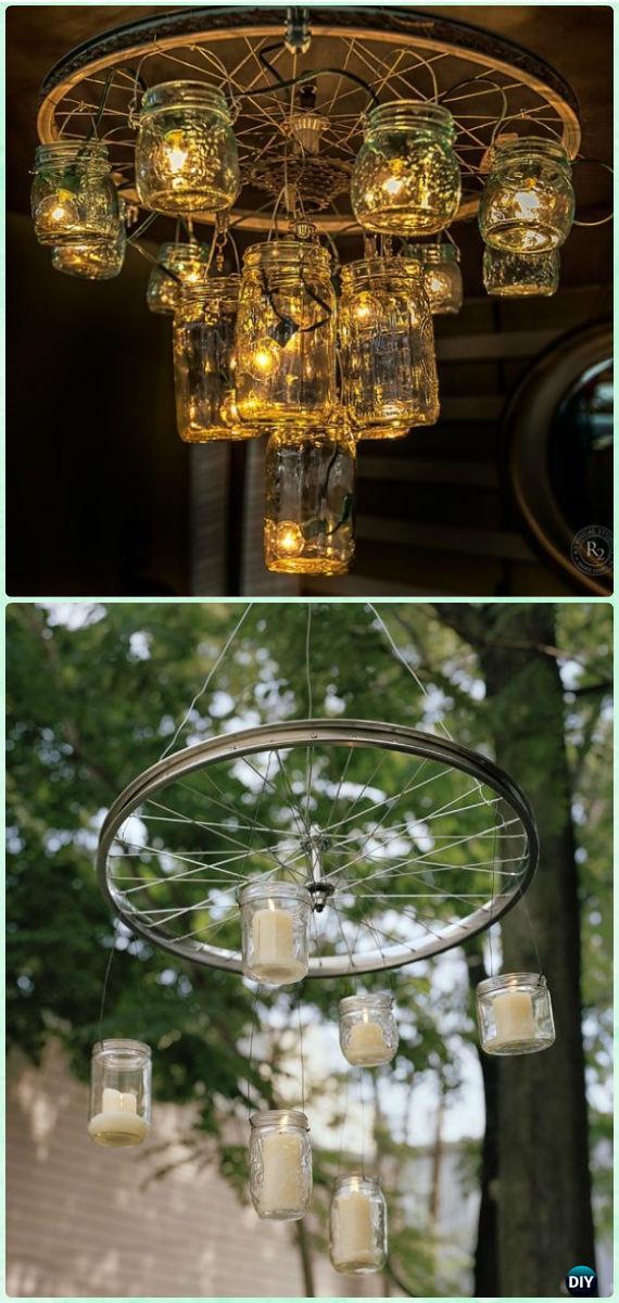 DIYBike Wheel Mason Jar Chandelier - DIY Ways to Recycle Bike Rims
