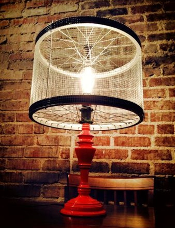 DIY Bike Wheel Lamp Shade - DIY Ways to Recycle Bike Rims