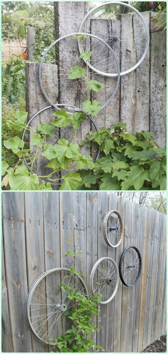DIYFence Mounted Bike Wheel Trellis Instruction- DIY Ways to Recycle Bike Rims