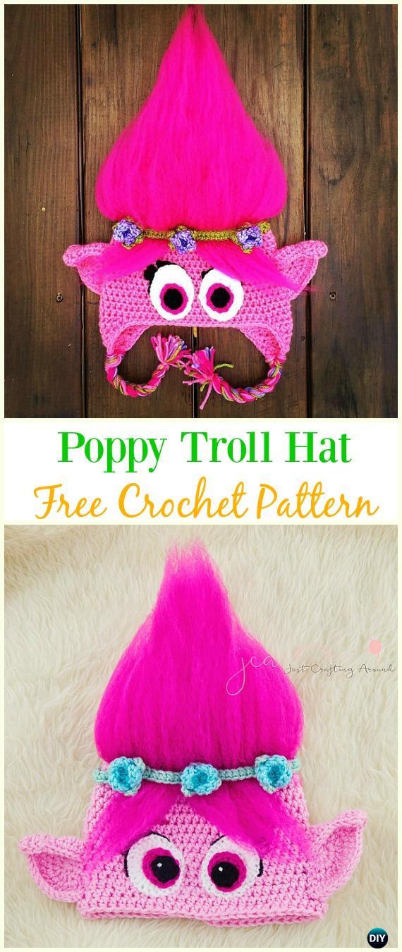 Crochet Poppy Troll Hat Free Pattern - Crochet Ear Flap Hat Free Patterns