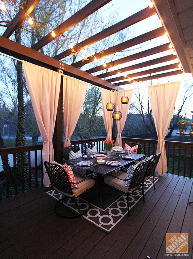 Deck Dining Table-20 DIY Porch Decorating Ideas Projects