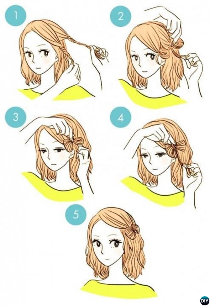 Easy Side Twist Bow Hairstyle Short Hair-20 Easy Busy Morning Hairstyles For Short Mid Long-Length Hairs