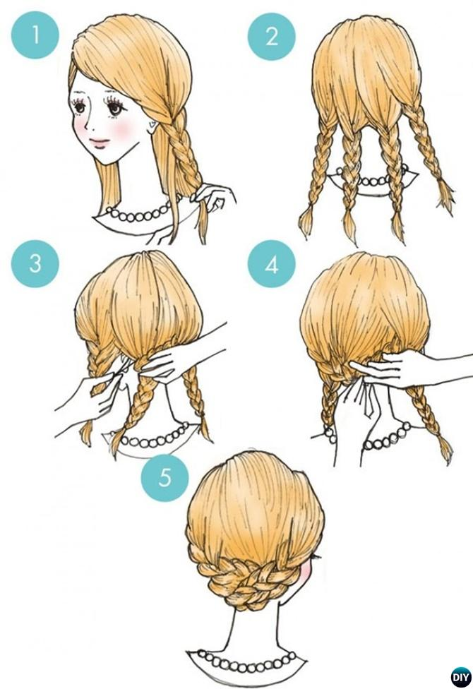 Four Braid Crown Hairstyle-20 Easy Busy Morning Hairstyles For Short Mid Long-Length Hairs