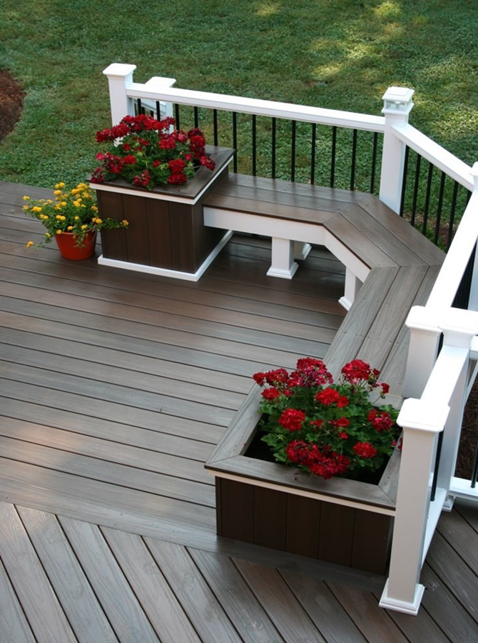 Front Porch Bench with Flower Pot Pot-20 DIY Porch Decorating Ideas Projects
