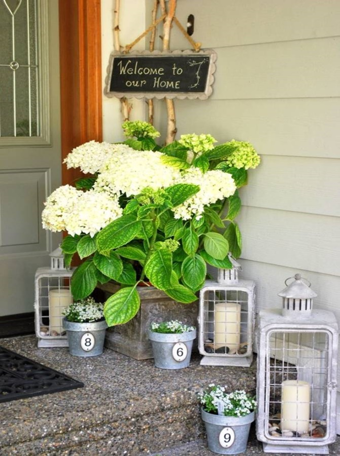 Front Porch Flower Pot Chalkboard Sign-20 DIY Porch Decorating Ideas Projects