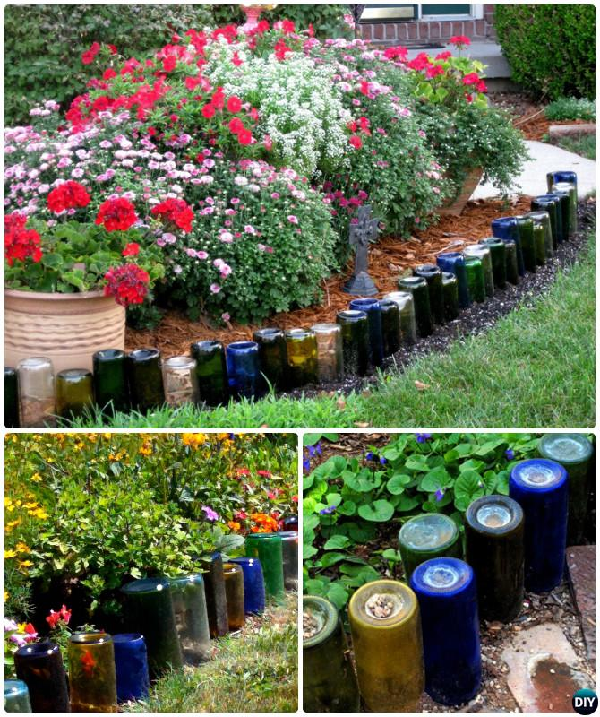 Glass Bottle Garden Bed Edging - 20 Creative Garden Bed Edging Ideas ...