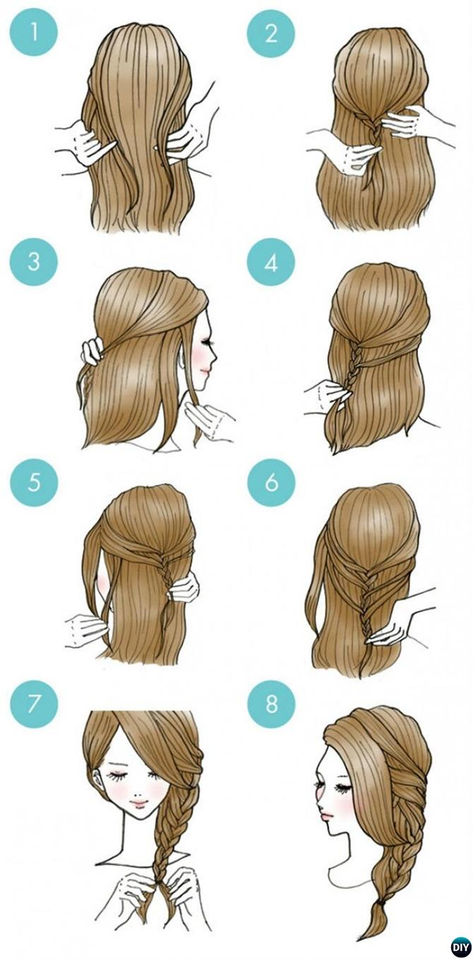 Half Up Side Braid Hairstyle-20 Easy Busy Morning Hairstyles For Short Mid Long-Length Hairs