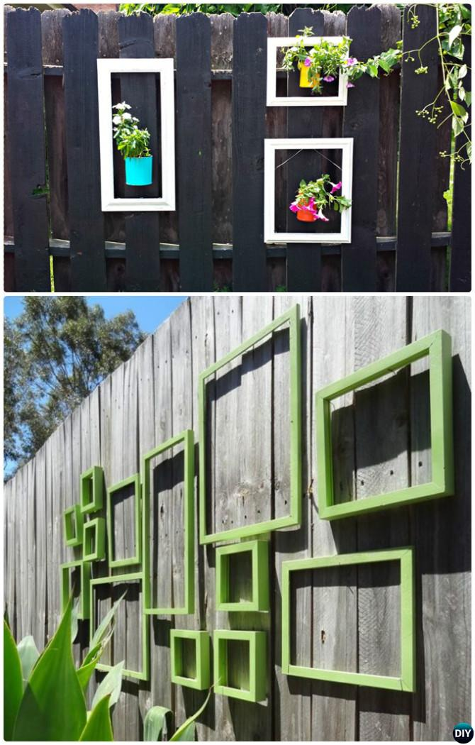 Backyard Fence Decorating Ideas tin can planter pot garden fence decor 20 fence decoration makeover diy ideas Hang Picture Frame To Decorate Backyard Fence 20 Fence Decoration Makeover Diy Ideas