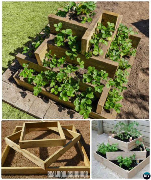 20 Raised Bed Garden Designs And Beautiful Backyard: How To Build Tiered Box Planter Tower-20 DIY Raised Garden