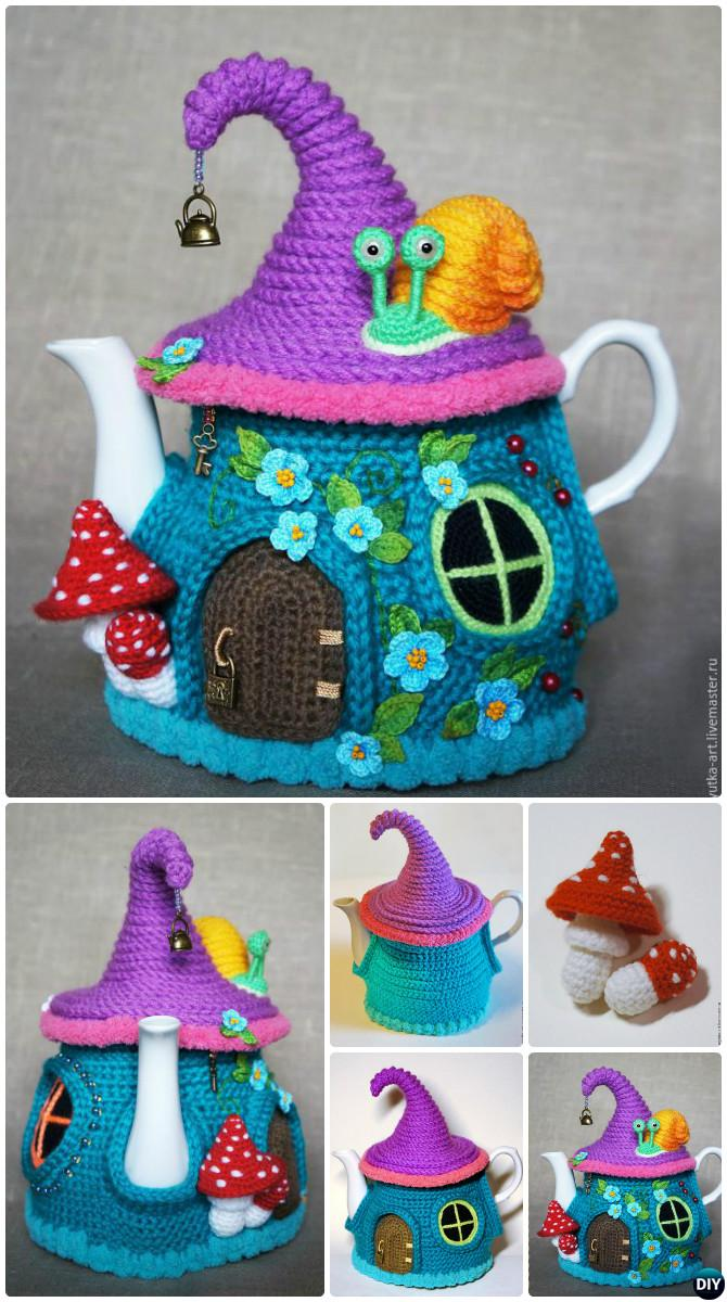 Crochet Fairy House Teapot Cozy Cover Free Pattern-Crochet Knit Tea Cozy Free Patterns