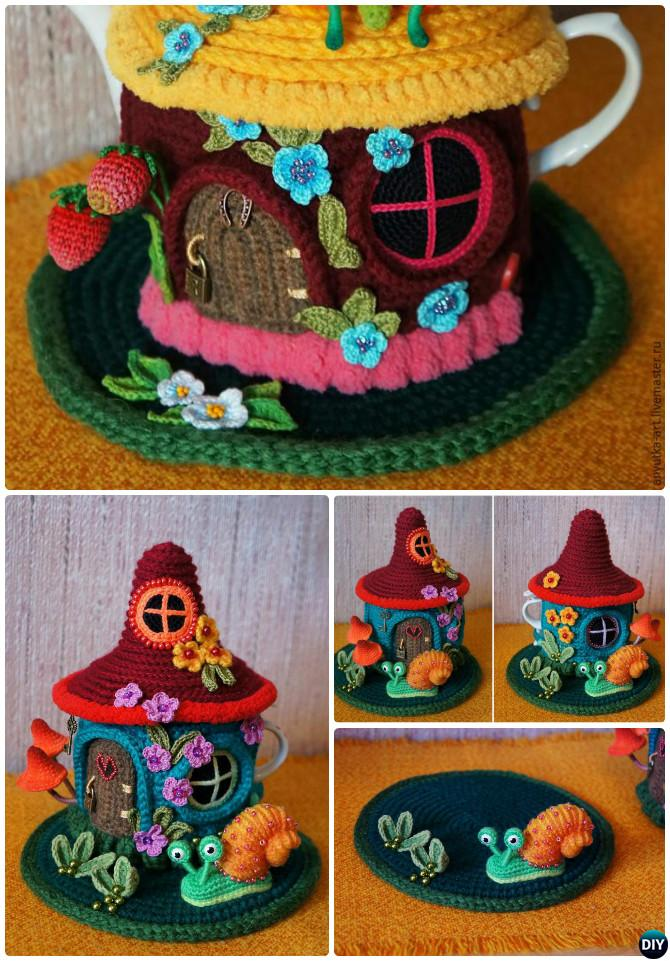 Crochet Fairy House Teapot Cozy Cover Pattern Free-Crochet Knit Tea Cozy Free Patterns