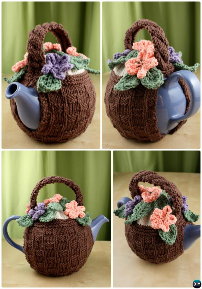 Knit Flower Basket Tea Cozy Free Pattern-20 Crochet Knit Tea Cozy Free Patterns