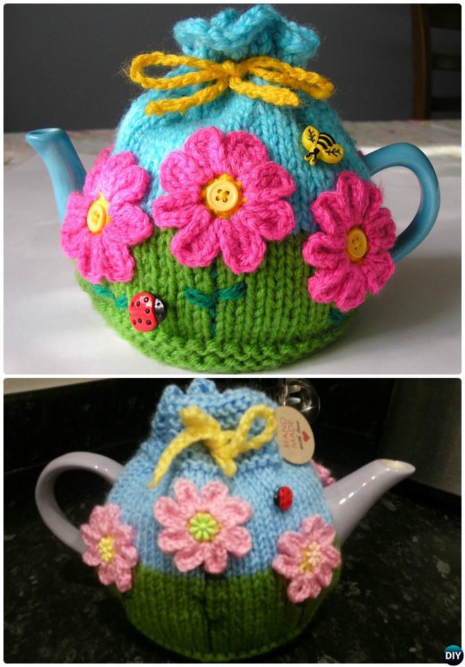 Knit Flower Garden Tea Cosy Free Pattern-20 Crochet Knit Tea Cozy Free Patterns