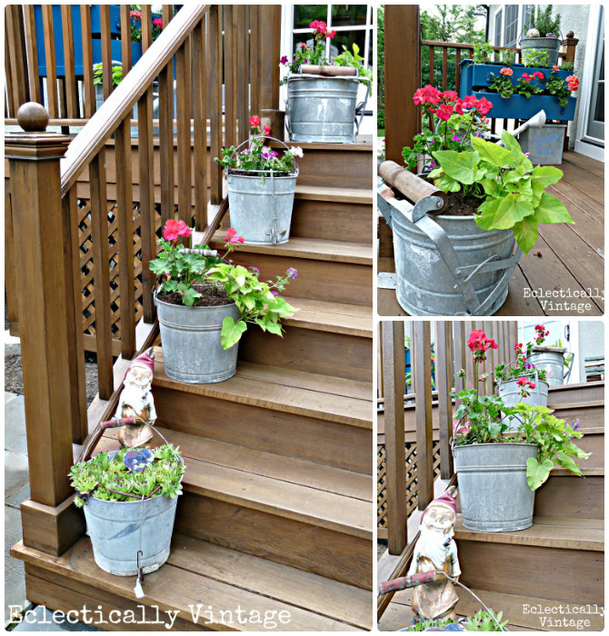 Diy Patio Decorating Ideas: Mop Bucket Planter Front Stairs-20 DIY Porch Decorating