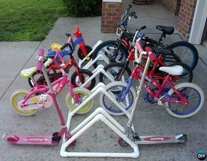 PVC Bike Organizer -20 PVC Pipe DIY Projects For Kids