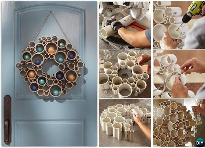 DIY PVC Pipe Wreath-20 PVC Home Organization and Storage Projects