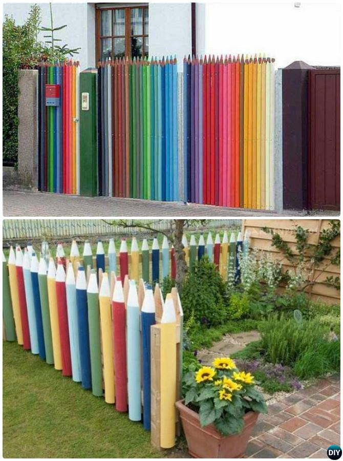 Painted Rainbow Pencil Garden Fence Decor 20 Fence Decoration Makeover DIY  Ideas