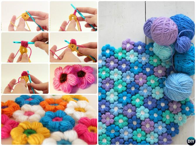 Puff Stitch Crochet Flower Blanket Free Pattern