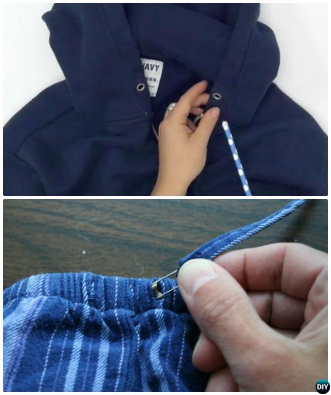 Rethread Drawstring with Drinking Straw or Safety Pin-20 Lady Girl Fashion Hacks