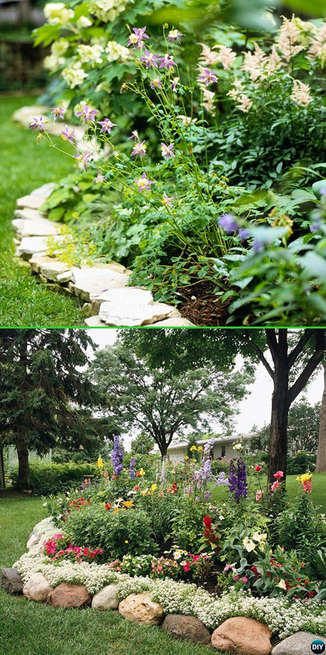 Creative garden bed edging ideas projects instructions for Landscaping flower beds with stones
