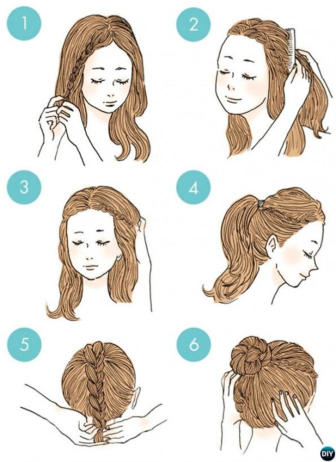 Side Braid Bun Hairstyle-20 Easy Busy Morning Hairstyles For Short Mid Long-Length Hairs