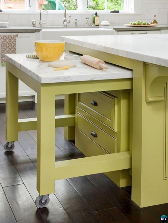 DIY Slide-Out Cutting Board on Wheels-16 Brilliant Kitchen Storage Solutions You Can Make Yourself